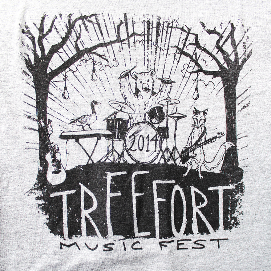T-shirt design by Lauryn Medeiros, art, illustration, typography, animal band, Treefort Music Festival, Boise