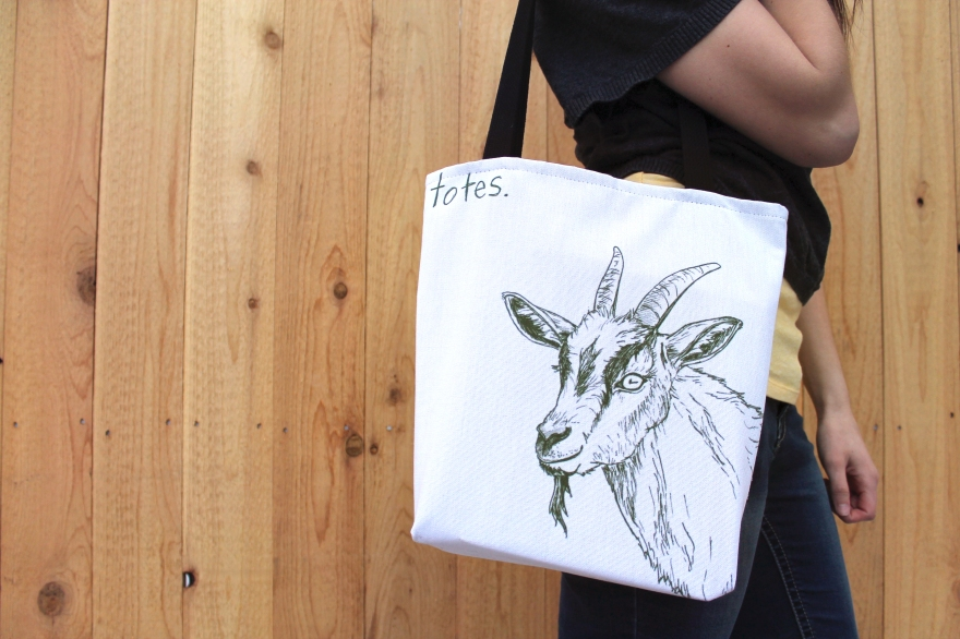 Illustration by Lauryn Medeiros, goat, tote bag, humor, animals