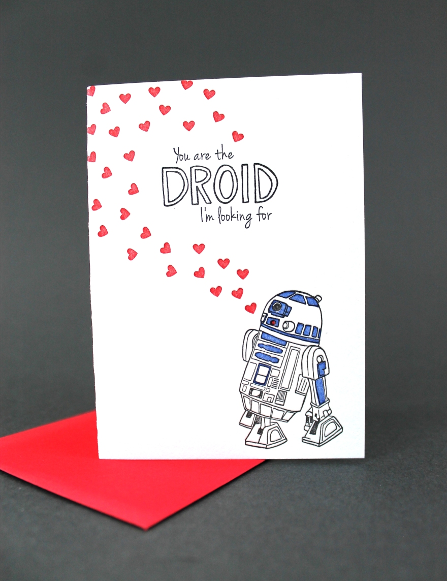illustration and design by Lauryn Medeiros, letterpress printed by Ladybug Press, Boise, Idaho, letterpress studio, greeting card, Star Wars, R2D2, Valentine's Day, hearts, droid you're looking for, you are the droid I'm looking for
