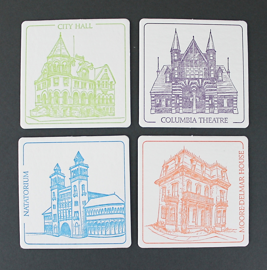 illustrations by Lauryn Medeiros, letterpress printed by Ladybug Press, Boise, Idaho, letterpress, coasters, historical, buildings