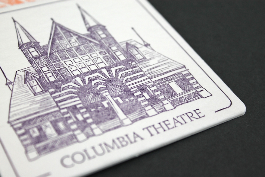 illustrations by Lauryn Medeiros, letterpress printed by Ladybug Press, Boise, Idaho, letterpress, coasters, historical, buildings, Columbia Theatre
