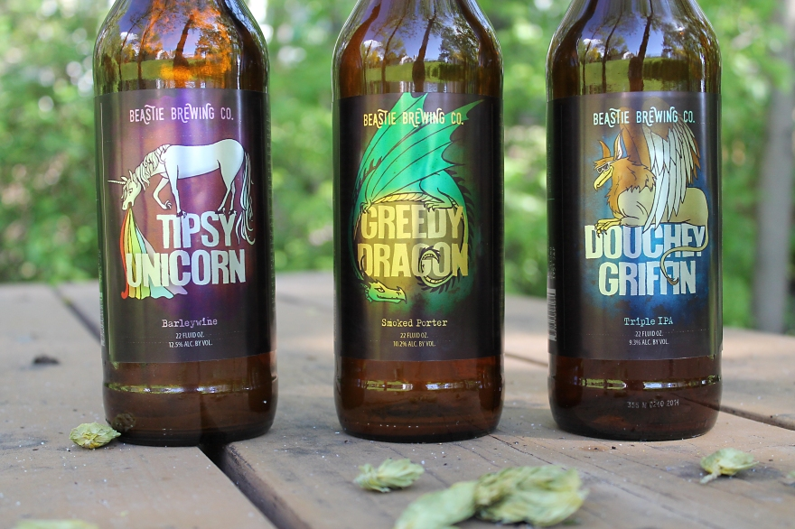 graphic design by Lauryn Medeiros, illustration, beer, labels, fantasy, magical, dragon, unicorn, griffin